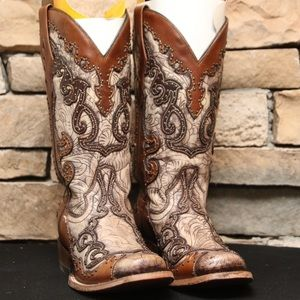 Corral Tooled Overlay Studded Square Toe Boots
